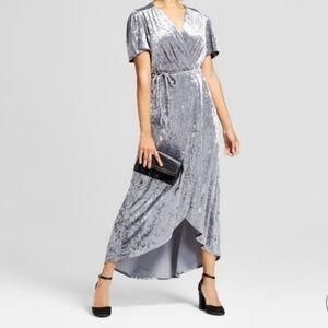 Xhilaration Gray Velvet Wrap Dress sz XL